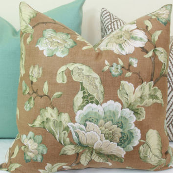 Teal and brown floral decorative throw pillow cover. 18 x 18. 20 x 20. 22 x 22. 24 x 24. 26 x 26. lumbar sizes.