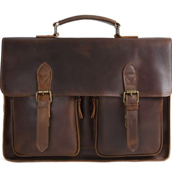 Copenhagen Vintage Leather Briefcase in Vintage Brown