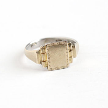 Vintage 9k Yellow Gold on Silver Art Deco Blank Signet Ring - 1930s Size 9 3/4 Men's or Women's Geometric Rectangular Two Tone Jewelry