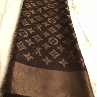 louis vuitton Monogram Shine Shawl(scarf) Brown