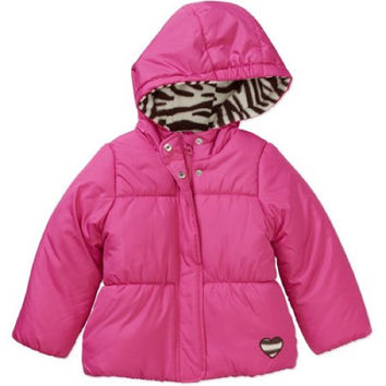 Child of Mine by Carter's Toddler Girl Printed Hood Puffer Jacket, 3T, Fuchsia