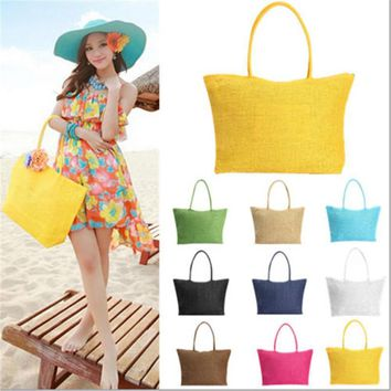 Hot New Design Straw Popular Summer Style Weave Woven Shoulder Tote Shopping Beach Bag Purse Handbag Gift FreeShipping N770