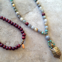 Rosewood, Labradorite, and African Turquoise 'Patience and Serendipity' 108 Bead Mala Necklace with Solid Brass Turtle Pendant