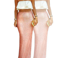 Flounced Two-Piece Maxi Set