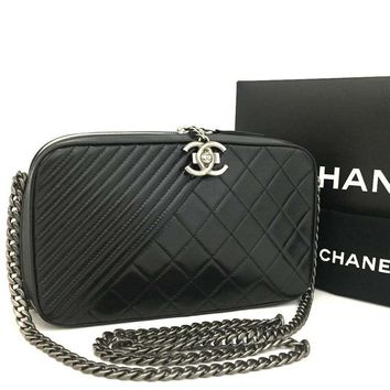 Chanel Boy Camera 2015 Coco Crossbody Black Calfskin 5653 (Authentic Pre-owned)