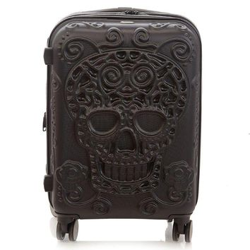 "Sugar Skull Black 8-Wheel 21.5"" Hardside Carry-On Luggage"