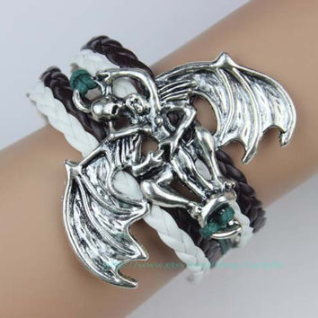 Angel and devil bracelet, wax rope and leather bracelet, girlfriend and boyfriend