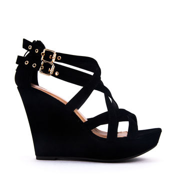 2Buckle Strappy Wedge Sandal