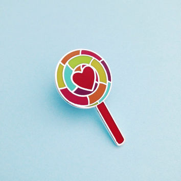 Retro Rainbow Lollipop Enamel Pin Badge, Lapel Pin, Tie Pin