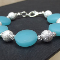 Blue Opal & Silver Bracelet: Sea Glass Beach Jewelry, Ocean Resort Wear Accessory