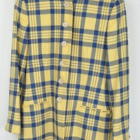 Vintage Mondi Sports Womens Jacket Wool Yellow Check Tartan Plaid Blue Blazer 12