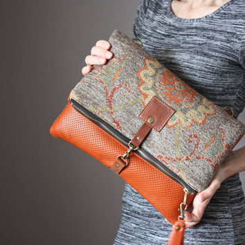 Large Leather fold over clutch, fold over bag, fold over purse, carpet bag,  tapestry fabric, rust leather clutch, leather tassel, crossbody