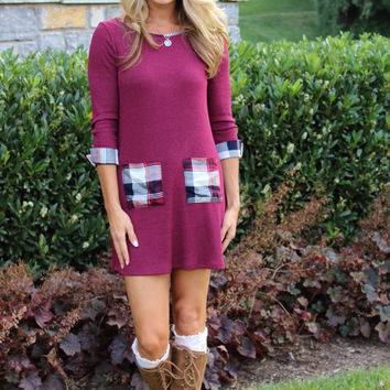Mad About Plaid Dress Burgandy