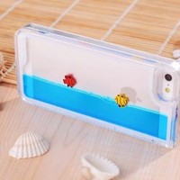 Easygoby Creative Design Free Flowing Liquid Swimming Fish Clear Hard Case For Apple iphone 5 5S (Blue)