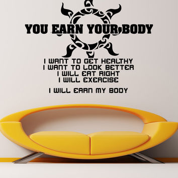 Vinyl Wall Decal Sticker Gym Motivation Quote #5456