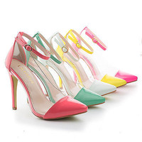 Olga1A Pointy Toe Lucite Clear Ankle Strap Stiletto Dress Pumps