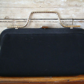 Vintage Black And gold Handled Clutch Purse 1960s Lovely