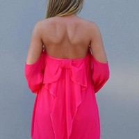 Off the shoulder bow dress fluro Pink off the shoulder bow from xeniaeboutique
