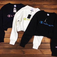 Supreme x Champion Fashion Casual Long Sleeve Sport Top Sweater Pullover Sweatshirt