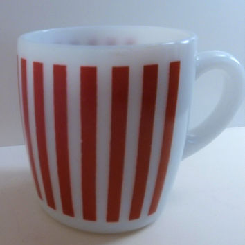Free Shipping Hazel Atlas Red Candy Stripe Coffee Cup