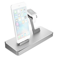 Apple Watch Series 2 Stand, Maxboost Multi-Charging Station Hub for iPhone 6/6S/7 Plus, Apple Watch Series 1&2 Elegant Dock/Desk Charging Station, Aluminum Apple Charging Stand Cradle Holder -Silver