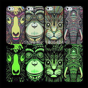 Fluorescent Noctilucent 3D cute Cartoon Animal world logo Elephant  Cat Phone Case Cover For iPhone 5 5s