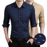 Slim Fit Men Wave Print Shirt