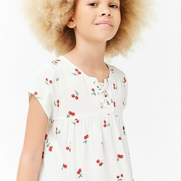 Girls Cherry Print Top (Kids)
