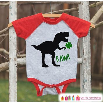 Kids St Patricks Day Outfit - Dinosaur St Paddy's Day Shirt or Onepiece - Boys St Patricks Day Shirt - Baby, Toddler, Youth - Red Dino Shirt