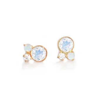 Rainbow Moonstone, Opal & Diamond Candy Studs