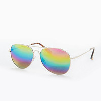Rainbow Lens Aviator Glasses - Urban Outfitters