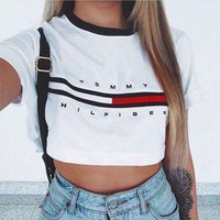 "[ On Sale ] "" Tommy Hilfiger "" Letters and Logo Print Women Cotton Crop Top Bare Midriff Women Top Short Sleeve T-Shirt _ 1882"