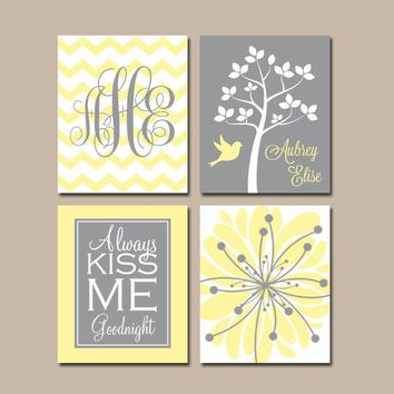 YELLOW GRAY Nursery Wall Art, CANVAS or Prints Baby Girl Nursery Wall Art, Monogram Flower Tree Bird Girl Bedroom Kiss Me Goodnight Set of 4