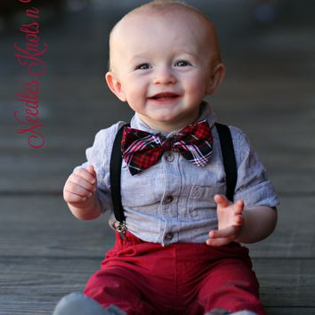 Christmas Plaid Bow Tie, Plaid Bowtie, Baby Boy, Boys, Toddlers, Mens Bow Ties