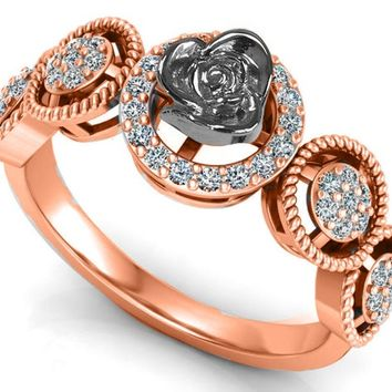 2 Tone 18K Rose gold Flower Ring Promise Ring Unique Engagement Ring with Side Diamonds Floral ring Birthday Gift For Her