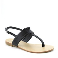 Yab Ester-4 T-Strap thong Flat Slingback Gladiator Chain Sandals in Black @ yabshop.com