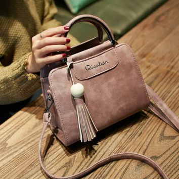 Retro Pink Leather With Tassel Hand Bag Shoulder Bag