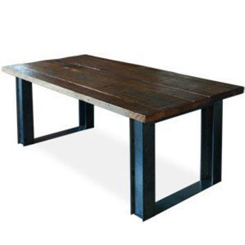 Bold Modern Reclaimed Iron & Wood Dining Table by Blakeavenue