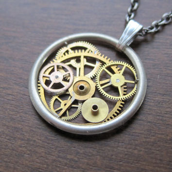 "Clockwork Pendant ""Horizon"" Recycled Mechanical Watch Gears and Intricate Sculpture Wearable Art Not Quite Steampunk Assembly Necklace"