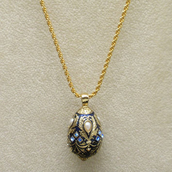 Jeweled Egg Pendant on Necklace Chain Vintage Joan Rivers