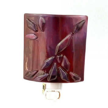 Night Light with Burgundy Maroon Stained Glass & Decorative Design - Home Decoration Accent