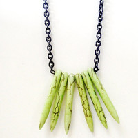 Green Spikes Necklace.  Spikes Needles Gemstone Tribal Gunmetal Chain Necklace, Inspired by Native Americans Necklace
