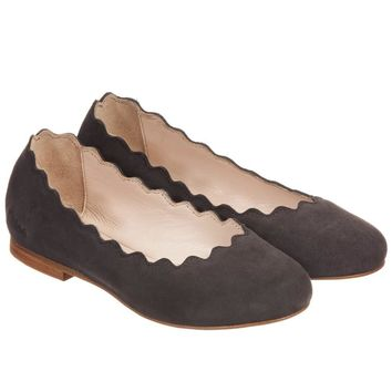 Chloe Girls Brown Suede Slip-On Shoes (Mini-Me)
