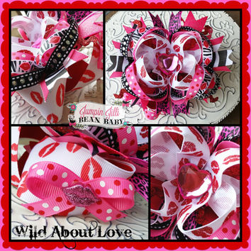 Boutique Wild About Love Valentine's Day Hair Bow JJBB