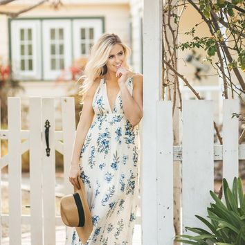 Shannon Light Yellow Floral Maxi Dress