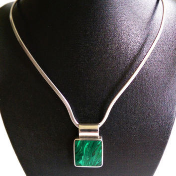 Taxco Malachite and Sterling Silver Pendant and Choker Collar Necklace