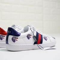 "GUCCI Ace Embroidered Low-Top ""White With WOLF"" Sneaker"