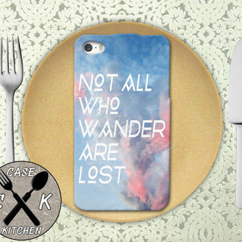 Not All Who Wander Are Lost Quote Pink Sky Tolkien Tumblr Rubber Tough Case iPhone 4/4s and iPhone 5 and 5s and 5c and iPhone 6 and 6 Plus +