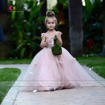 Princess Pink Flower Girl Dresses for Weddings Tulle Baby Party Frocks 2016 Girls Pageant Dress Beauty Vestido De Daminha SA388