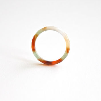 Natural Mix Color Agate Band Ring 2mm. Stackable Gemstone Ring. Faceted Agate Ring. Natural Healing Agate Ring.